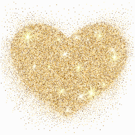 Gold glitter heart with sparkles on white background for your Valentines day or wedding design. Love concept. Vector illustration