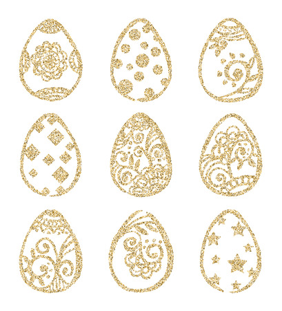 gold eggs: Set of gold Easter eggs isolated on white background. Easter icon. Happy Easter. Vector illustration