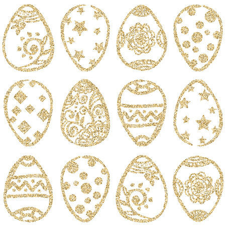 gold eggs: Easter seamless pattern with gold glitter eggs on white background. Easter eggs set. Gold Easter eggs. Easter background. Vector illustration