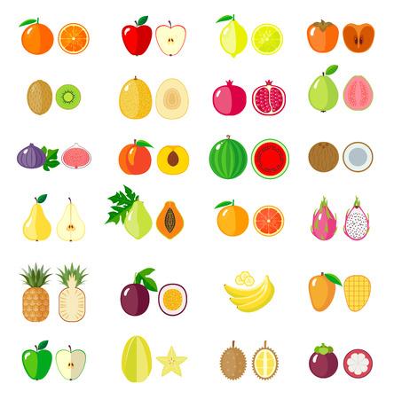 passion fruit: Set of fruit icons. Isolated objects.  Modern flat design.  Vector illustration Illustration