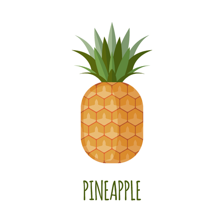 tropical fruit: Pineapple in flat style. Pineapple vector. Pineapple icon. Isolated object. Vector illustration