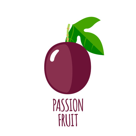 passion ecology: Passion fruit in flat style.