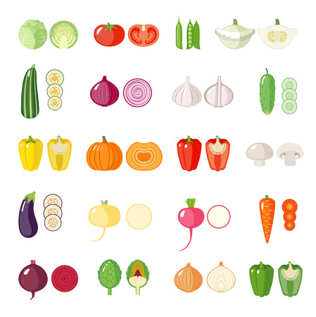 Set of vegetables icons. Isolated objects.  Modern flat design. Çizim