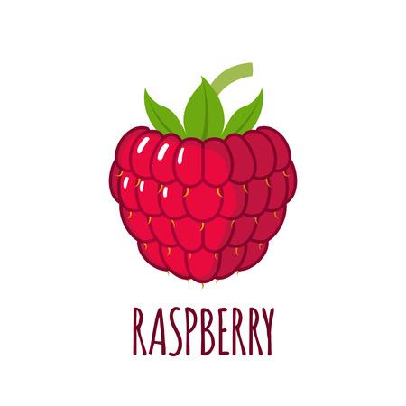 Framboos in vlakke stijl. Raspberry vector logo. Raspberry icoon. Geïsoleerde object. Natuurlijk voedsel. Vector illustratie. Framboos op een witte achtergrond