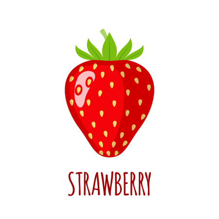 Strawberry in flat style. Strawberry vector logo. Strawberry icon. Isolated object. Natural food. Vector illustration. Strawberry on white background