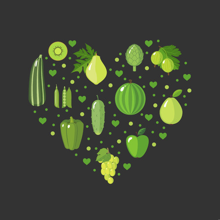 eating fruits: Heart shape with green fruits and vegetables in flat style. Healthy eating concept. Organic food. Diet design element. Vector illustration