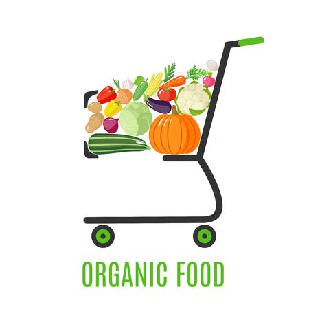 Winkelwagen met verse groenten in vlakke stijl. Biologisch voedsel. Vector illustratie Stock Illustratie