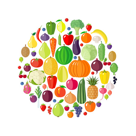 Fruits, vegetables and berries in circle shape. Modern flat style. Healthy eating concept. Organic food. Diet design element. Vector illustration