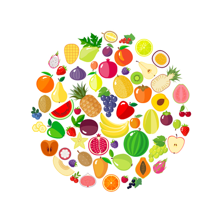 passion  ecology: Fruits and berries in circle shape.  Modern flat style. Healthy eating concept. Organic food. Diet design element. Vector illustration