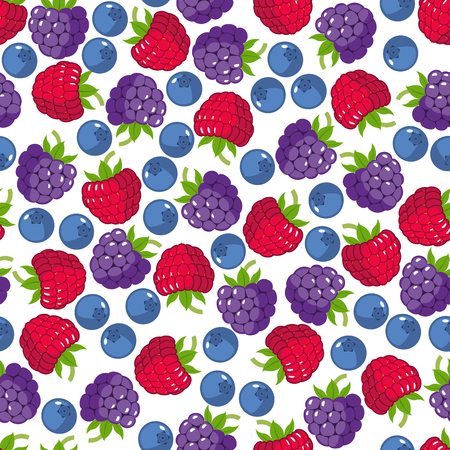 Seamless pattern with wild berries: raspberry, blackberry, blueberry. Vector illustration