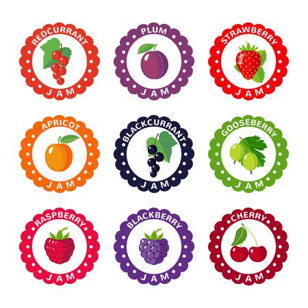 Nette Etiketten für Beerenmarmelade. Icons auf weißem Hintergrund. Vektor-Illustration Vektorgrafik