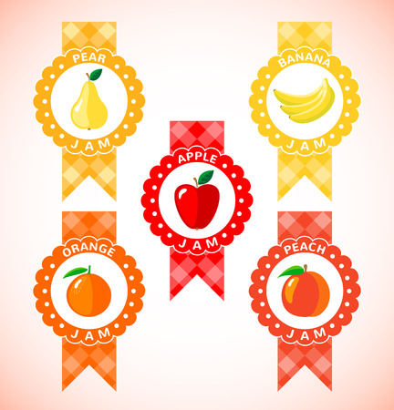 confiture: Cute labels for fruit jam. Icons isolated on white background. Vector illustration
