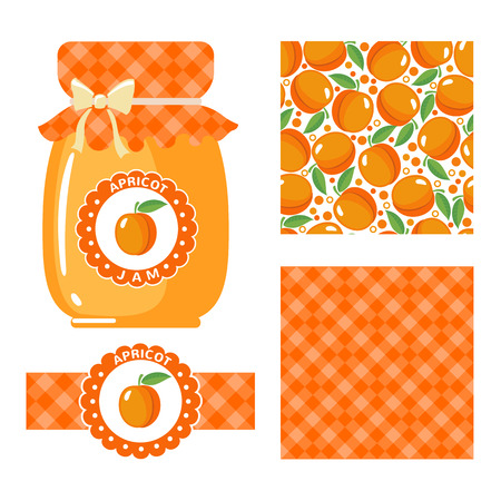 apricots: Apricot jam collection. Set of paper labels and seamless patterns Gingham, Apricots on white background. Design for package, wrapping paper textile or wallpaper. Vector illustration