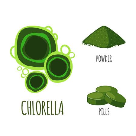 Chlorella Superfood dans un style plat: poudre de chlorella, pilules. Aliments sains biologiques. Objets isolés sur fond blanc. Illustration vectorielle Vecteurs