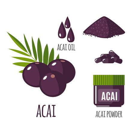 Superfood Acai-Beere in flachen Stil gesetzt: Acai-Beeren, Pulver, Pillen, Öl. Organische gesundes Essen. Isolierte Objekte auf weißem Hintergrund. Vektor-Illustration