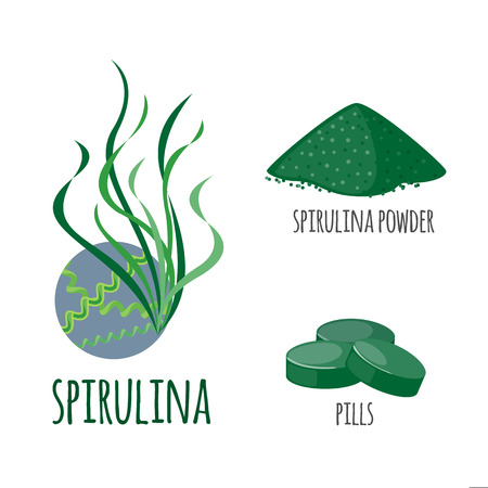 Superfood spirulina set in flat style: algae, powder, pills. Organic healthy food. Isolated objects on white background. Vector illustration