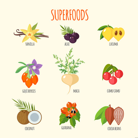 Set of superfoods in flat style. Healthy lifestyle. Fruits and vegetables for health. Vector illustration