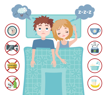 restless: Sleepless man character counting sheep and sleeping woman character with good dream. Sleep and insomnia flat icons.  Vector illustration. Sleeping concept