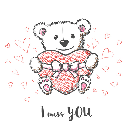 i miss you: Romantic card with hand drawn cute bear holding heart. I  miss you. Vector illustration