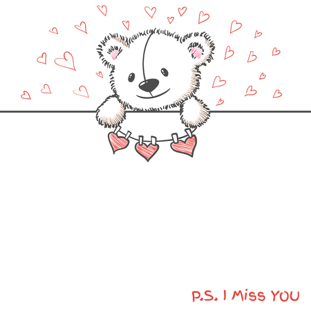 i miss you: Romantic banner with hand drawn cute bear holding hearts. I  miss you. Vector illustration