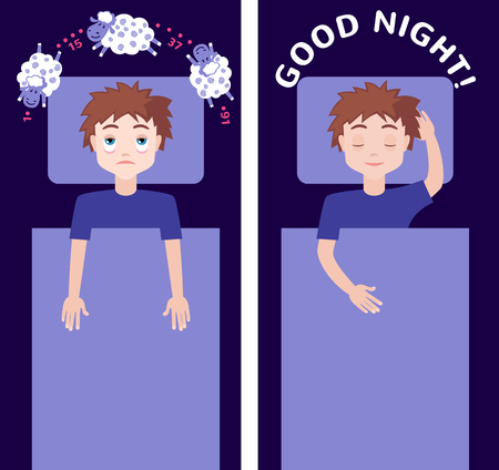 restless: Sleepless man character counting sheep and sleeping man character with good dream. Insomnia concept. Vector illustration