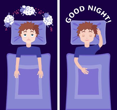 sleeping man: Sleepless man character counting sheep and sleeping man character with good dream. Insomnia concept. Vector illustration