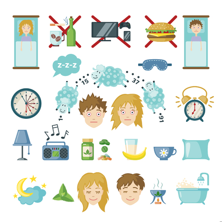 insomnia: Set of sleep and insomnia icons in flat style. Isolated objects on white background. Symbols  for infographics or web use. Vector insomnia concept. Illustration