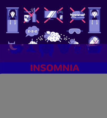 insomnia: Set of sleep and insomnia icons in flat style. Isolated objects. Symbols  for infographics or web use. Vector insomnia concept.