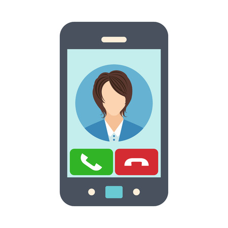 phone and call: Smartphone with receiving phone call. Female avatar icon. Vector illustration Illustration