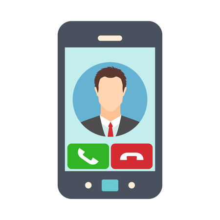 receiving: Smartphone with receiving phone call. Male avatar icon. Vector illustration Illustration