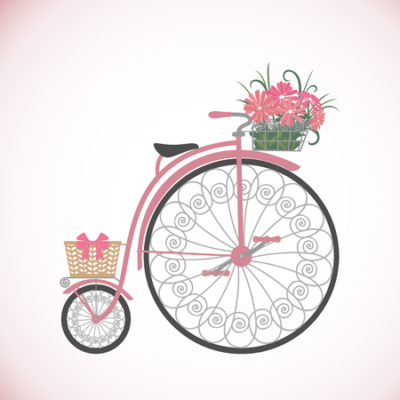 eco flowers basket: Bicycle in flat style. Vintage bicycle with basket full of flowers. Retro bicycle isolated on white background. Vector illustration. Illustration