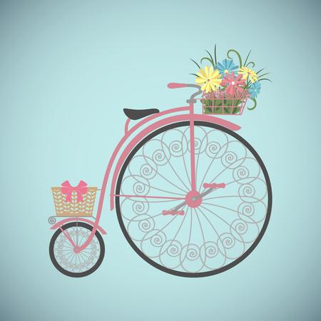 Bicyclette dans un style plat. Vélo vintage avec panier rempli de fleurs. Vélo rétro isolé sur fond blanc. Illustration vectorielle Vecteurs