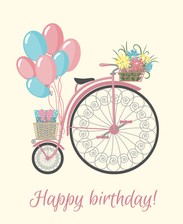 eco flowers basket: Happy birthday card with bicycle, flowers and balloons. Vintage bicycle with basket full of flowers. Retro bicycle isolated on white background. Vector illustration.