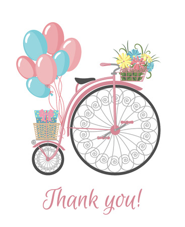 eco flowers basket: Postcard with bicycle, flowers, balloons and thank you text. Vintage bicycle with basket full of flowers. Retro bicycle isolated on white background. Vector illustration. Illustration