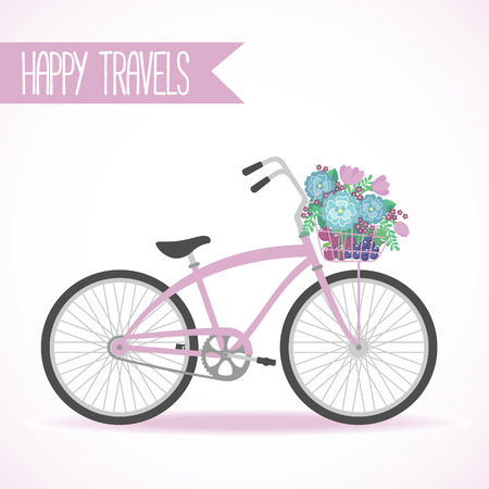 bonjour: Cute bicycle with basket full of flowers in modern flat style. Travel bicycle. Greeting card with bicycle. Vector illustration