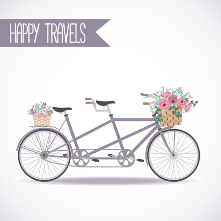 Cute bicycle with basket full of flowers in modern flat style. Travel bicycle. Greeting card with tandem bicycle. Vector illustration Illustration