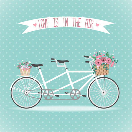 Cute bicycle with basket full of flowers in modern flat style. Wedding bicycle. Greeting card with bicycle. Vector illustration