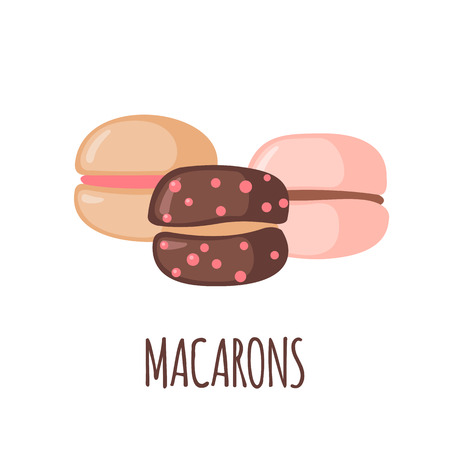 Macaroons icon isolated on white background. Objects for design. Element formenu. French dessert. Vector illustration.