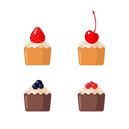 cupcakes isolated: Set of cupcakes with berries isolated on white background Illustration
