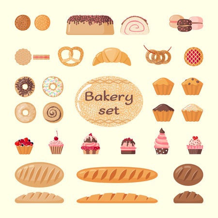 cakes and pastries: Set of bakery elements: cakes, biscuits, bread, pastries and etc. Bakery icons. Vector illustration. Illustration