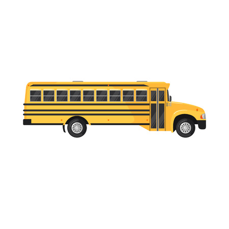 yellow car: School Bus Icon in flat style on white background. Vector illustration