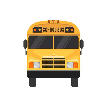 Icône de bus scolaire dans un style plat sur fond blanc. Illustration vectorielle