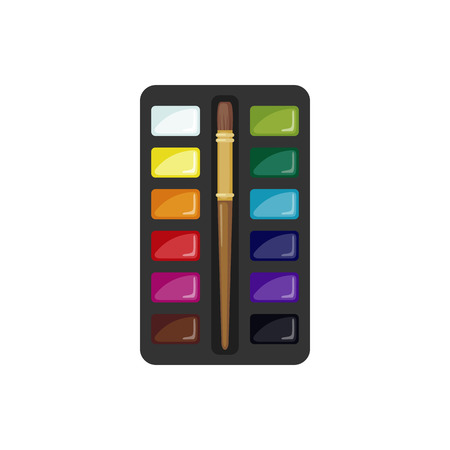 paintbox: Watercolor paintbox icon in flat style isolated on white background. Paints with brush. Vector illustration Illustration