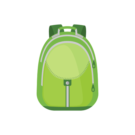 School Backpack Icon in flat style isolated on white background. Vector illustration. Illustration