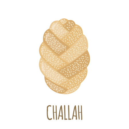 challah: Challah icon in flat style isolated on white background. Bakery menu. Bread symbol. Vector illustration.