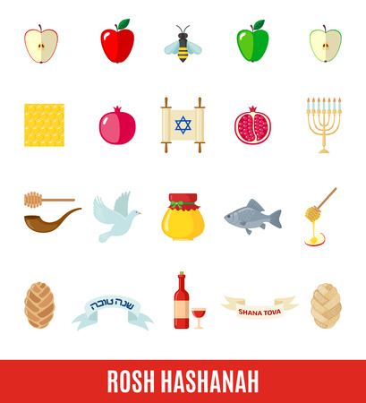 Set of Rosh Hashanah icons in flat style isolated on white background. Shana Tova or Jewish New year symbols. Vector illustration.