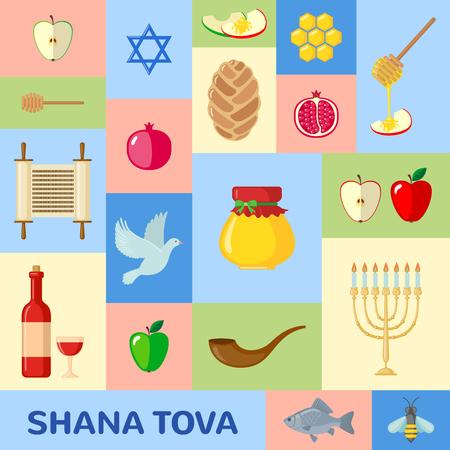 shana: Rosh Hashanah greeting card in flat style. Shana Tova or Jewish New year symbols. Vector illustration. Illustration