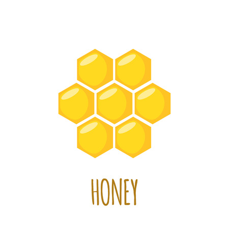 honey comb: Honey comb icon in flat style isolated on white background. Vector illustration.