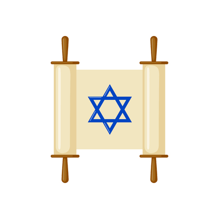 Torah scroll icon in flat style isolated on white background. Vector illustration.