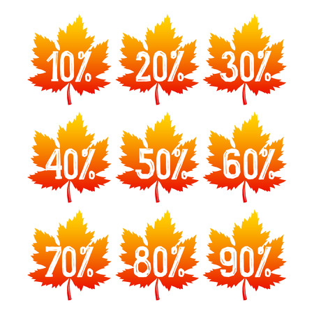 autumnal: Autumnal sale badges. Fall leaves isolated on white background. Vector illustration